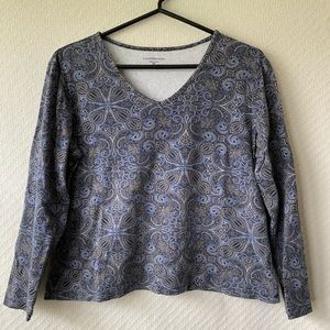 Croft & Barrow Cotton Blue Print Top- PL